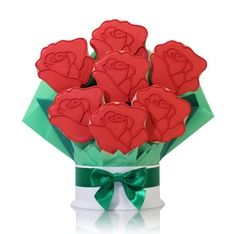 Say Happy Valentine's Day to your sweetie with a deliciously decorated bouquet of red roses. Better than fresh flowers, this extra large shortbread cookie bouquet tastes just as good as it looks.  SHOP NOW: www.Kimslabellabaskets.com