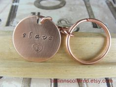 Slave Handstamped Copper Keychain by aislinnscollared on Etsy, $4.00