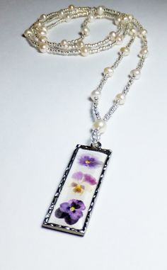 3 Pansy Pendant and Freshwater Pearl Beaded Necklace by tzteja, $20.00