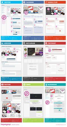 Complete Social Media Sizing Cheat Sheet 2014 - #infographic - including #Twitter, #Facebook, #GooglePlus, #LinkedIn, Instagram, #Pinterest, #YouTube #midiassociais #socialmedia