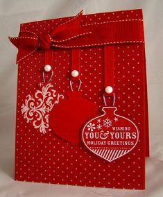 handmade Christmas card .... RED!! ... luv this red card with just touches of white ... three hanging ornaments in differen designs ... Stampin' Up!