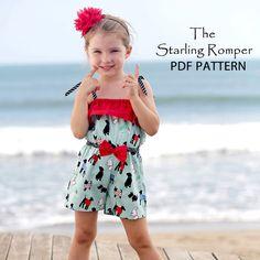 romper pattern, sew pattern, girls sewing patterns