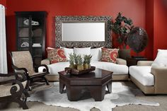 """A """"collected over time"""" look mixes pieces from different periods with bits of nature. Colonial chairs and Moorish-inspired tables showcase a range of design styles, while the tortoise shell lamp and woven textures add a natural element. pin sweepstak, galleri win, tortoise shell, live room, design styles"""