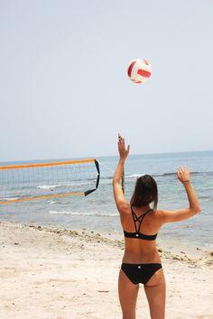 ready for Beach Volleyball days...#ROXYOutdoorFitness ambassador Rachel Moore getting ready for a serve.