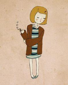 Cute Margot - Pen and Ink Illustration - 5 x 7  Print. $10.00, via Etsy.
