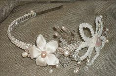 Pearl Crystal Silk Floral Tiara by BareBeadsBridal on Etsy, $110.00