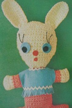 1970s #crochet stuffed animal rabbit