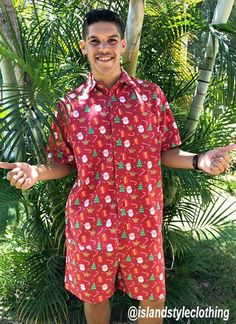 SECRET SANTA is a mens two piece set. Cotton hawaiian shirt and matching shorts. Get this ultimate party kit for day at the beach, luau, cruise, rugby, bachelor party, cricket or the pub! #cabana #partykit #partytux #partyshirts #parrotheads #hawaiianshirts #hawaiianshirtandshorts #xmasshirt #christmasshirt