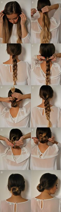 braided ponytail updo tutorial by clip in 22 inch brown ombre color human hair extension for short hair