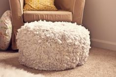 DIY poof footstool
