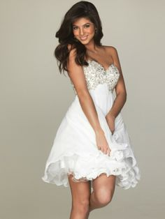White Semi Formal Dresses By Night Moves For A Special Occasion Party