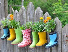 boot, garden ideas, home plants, street art, flower pots