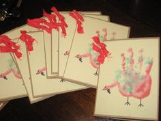 Thanksgiving cards...I need to do them again with all three kids' hands!