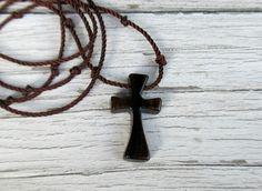 Handmade Wooden Men's Cross Necklace in Ziricote Hardwood by TheLotusShop, $16.95
