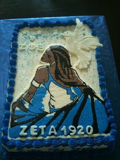 Zeta Sorority    Zeta Sorority cake for a DODS teacher.  Marble cake with Buttercream & handcut Dove.