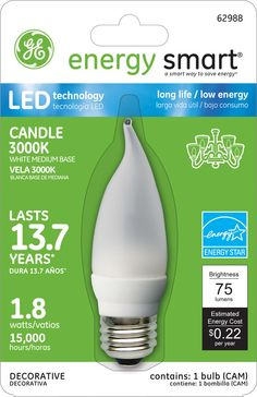 GE Energy Smart 10W Replacement (1.8W) Candle CA11 LED Bulb (Warm, Frosted, E26) $19.95