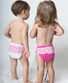 RuffleButts.com - Ruffled Underwear - White/Fuchsia 2-Pack