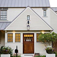 White Exterior With Wood Door the doors, window, exterior, brick, front doors, paint colors, hous, metal roof, wood doors
