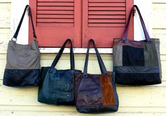 Upcycled patchwork leather bags