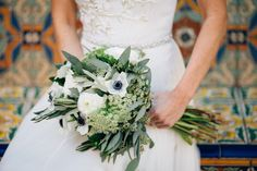 Green and white wedding bouquet: http://www.stylemepretty.com/2014/10/21/glamorous-boca-raton-courtyard-wedding/ | Photography: Kallima - http://kallimaphotography.com/