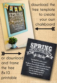 Free Spring Chalkboard Printable & Template | Instant downloads