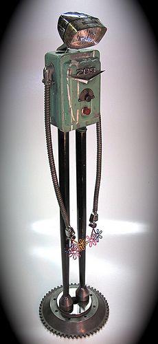 """even robots get the blues"" found object metal art junk sculpture by ultrajunk, via Flickr"