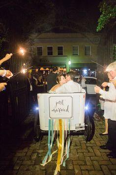 Just Married, photo by Virgil Bunao http://ruffledblog.com/william-aiken-house-wedding #weddingideas #getaway