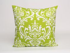 Green and White Damask Pillow Cover, Green Cushion Cover, 22 x 22 inch Pillow Cover in Green, Damask Pillow Cover, Christmas Throw Pillow