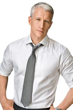 gray hair, anderson cooper, peopl, silver foxes men, white shirts, silver hair, ties, beauti, hair looks