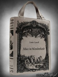 Grey BOOK bag Alice in Wonderland gothic lolita handbag, Lewis Carroll. Restyle.pl