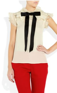 Prabal Gurung White With Black Bow Top