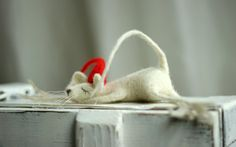 Christmas Dreamy Felt Mouse With A Red Hat by FeltArtByMariana, $58.00