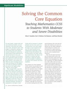 Solving the Common Core Equation: Teaching Mathematics CCSS to Students With Moderate and Severe Disabilities