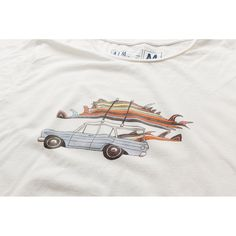 Kevin Butler designed T-Shirt for ALMOND 'Rad Cars with Rad Surfboards on Them' Most featuring wooden fins by GULLY