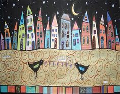 Cityscape Moonbirds, Karla Gerard - a needlepoint kit from The Silk Mill complete with all the silks.