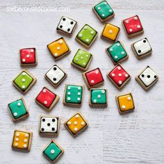 Bite-sized dice cookies for game night | The Decorated Cookie