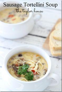 Slow Cooker Sausage Tortellini Soup, Sausage Tortellini Soup, Slow Cooker Soup, Jimmy Dean Crumbles