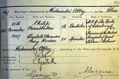 """Marriage certificate of Queen Elizabeth II and Prince Phillip. What cheek to call the Princess of the United Kingdom of Great Britain and Ireland a """"spinster."""" She was 21!!!"""