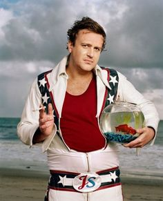 Jason Segel with a goldfish, what's up