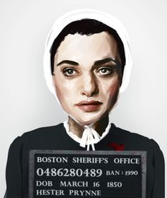 Illustrated Mugshots of Characters From Famous Banned Books: Hester Prynne from The Scarlett Letter  #bannedbooks #bannedbooksweek #freedomtoread