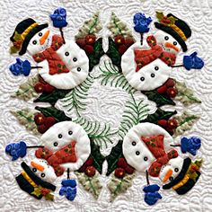 """Snowman block from """"Baltimore Christmas"""" Applique quilt by Miriam Meier at Quilt Expo"""