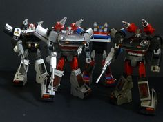 Transformers Masterpiece MP-17 Prowl, MP-18S Silverstreak, MP-19 Smokescreen and MP-18 Streak