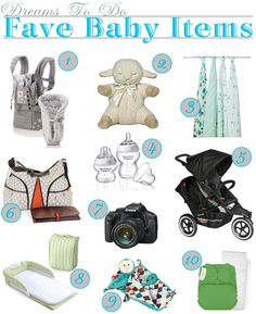 A great baby list from Dreams to Do!