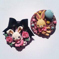 #handmade #bunny #pins #brooches #polymerclay #fimo #cernit #kawaiioftheday #kawaii #cute - @danielapupa- #webstagram