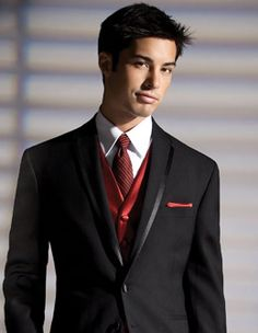 Black Tuxedo with White Shirt and Red Vest and Tie