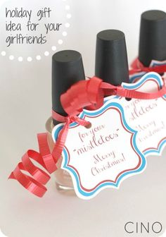 """for your """"mistletoes"""" toenail polish gift idea and free printable from CINO"""