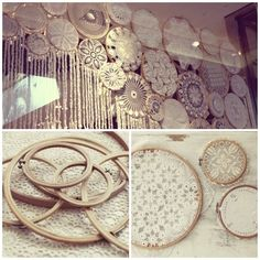 Doilies in embroidery hoops-gorgeous wall decor