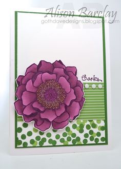 Gothdove Designs - Alison Barclay - Stampin' Up! Australia - Blended Bloom - Dotty Angles - Hacking your Ink with Blendabilities - Thank You Card