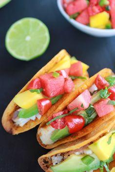 Coconut Lime Mahi Mahi Tacos with Tequila Soaked Watermelon Salsa   halfbakedharvest.com