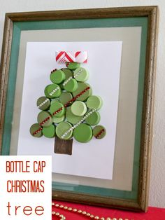 How to make a bottle cap Christmas tree!